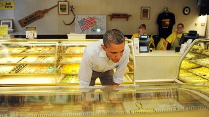 obama at kretchmar President Barack Obama looks over his options while stopping to buy pie and cookies at Kretchmar's Bakery on Third Street in Beaver today.
