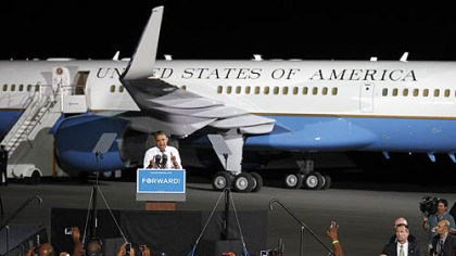 Obama in Cleveland Barack Obama speaks in front of Air Force One at a campaign event at Burke Lakefront Airport in Cleveland.
