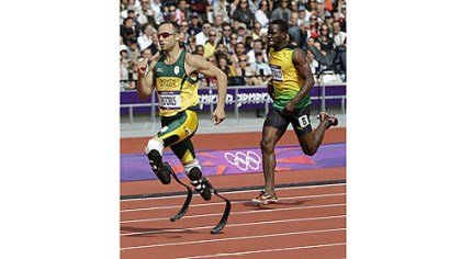 Oscar Pistorius South Africa's Oscar Pistorius, a double amputee, competes Saturday in a men's 400-meter heat.