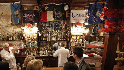 Paris The temporary results of a U.S. presidential election straw vote is displayed on a board at Harry's Bar in Paris.