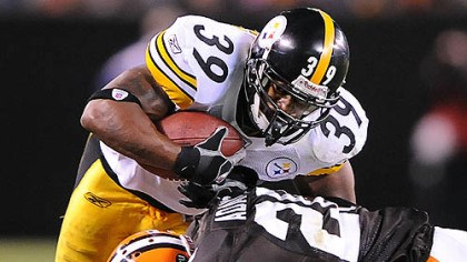 Parker Willie Parker is tackled by the Browns' Mike Adams.