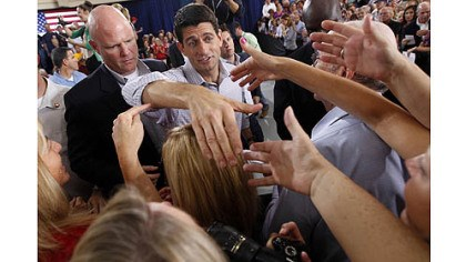 Paul Ryan Republican vice presidential candidate Rep. Paul Ryan greets supporters Tuesday during a campaign event at the Westlake Recreation Center in Westlake, Ohio.
