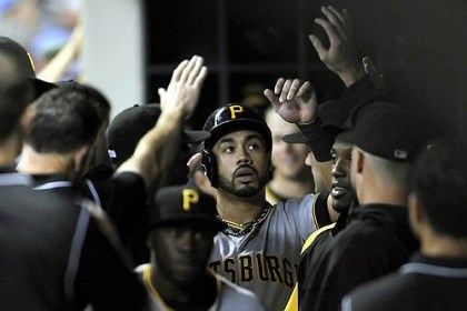 Pedro Alvarez The Pirates' Pedro Alvarez is congratulated in the dugout after scoring in the second inning against the Brewers at Miller Park Wednesday night.