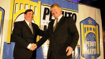 Peduto Pittsburgh Councilman Bill Peduto, left, as he announces his run for mayor, greets Allegheny County Executive Rich Fitzgerald at the Crucible Building in the Strip District on Thursday.