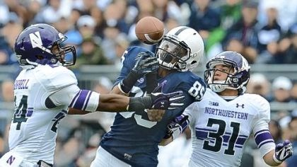 Penn State Brandon Moseby-Felder, middle, attempts to zero in on a pass against Northwestern earlier this season. Moseby-Felder is third among Penn State receivers with 25 catches this season.