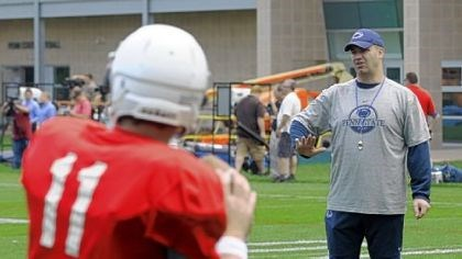 penn state Penn State football coach Bill O'Brien works with the quarterbacks in practice Thursday.