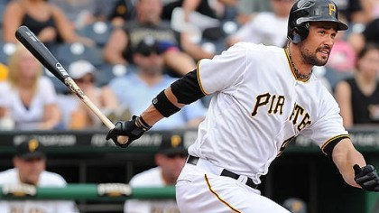 Pirates-2 The Pirates' Pedro Alvarez hits a two-run homer against the Braves in the second inning Friday at PNC Park. The ball traveled 430 feet.