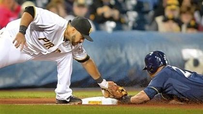 Pirates Third baseman Pedro Alvarez tags out Milwaukee's Carlos Gomez as Gomez tried to steal third base early in Wednesday's game at PNC Park.