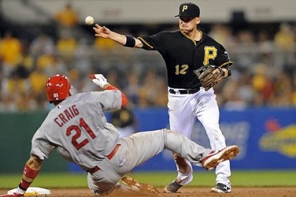Pirates' Clint Barmes Pirates' Clint Barmes gets Cardinals' Allen Craig out at second on a double play to end the game at PNC Park Friday night.