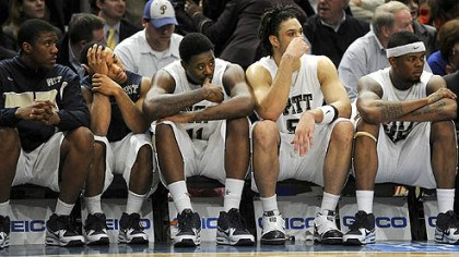 Pitt The Pitt bench watches the final seconds of their team's loss to Notre Dame.