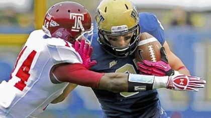 Pitt Pitt receiver Mike Shanahan tries to fend off Temple's Vaughn Carraway Saturday at Heinz Field. Notre Dame is next for the Panthers.
