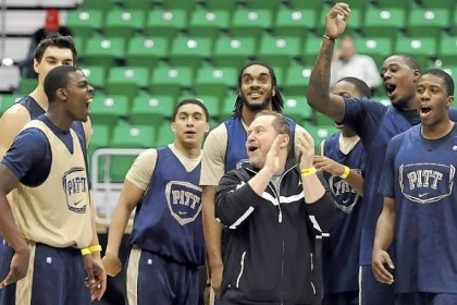 Pitt Pitt players cheer after Durand Johnson, left, hits a half-court shot to end practice Wednesday in Salt Lake City.