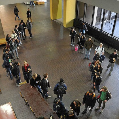 pitt students vote overhead Students line up to vote today in Posvar Hall at the University of Pittsburgh.