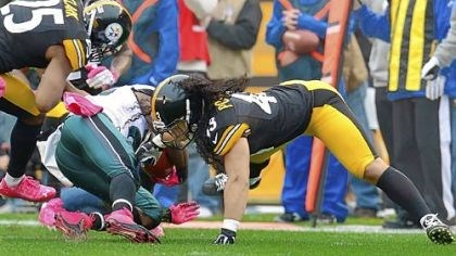 polamalu Troy Polamalu, right, will miss Sunday's game due to a leg injury suffered Oct. 7 against the Eagles.