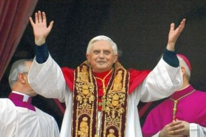 pope Pope Benedict XVI greets the crowd from the central balcony of St. Peter''s Basilica moments after being elected in 2005.