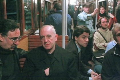 Pope Francis Cardinal Jorge Mario Bergoglio, now Pope Francis, riding the subway in Buenos Aires, Argentina.