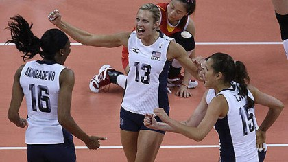 Preliminary match: USA vs. China United States' Foluke Akinradewo (16), Christa Harmotto (13) and Logan Tom celebrate during a women's preliminary volleyball match against China at the 2012 Summer Olympics, Wednesday, Aug. 1, 2012, in London.