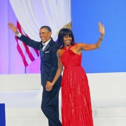 President Barack Obama President Barack Obama and first lady Michelle Obama wave after dancing during the Commander-In-Chief's Inaugural Ball.