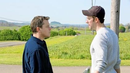 "Promised Land Matt Damon stars as Steve Butker and John Krasinski stars as Dustin Noble in Gus Van Sant's ""Promised Land."""