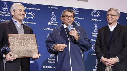 psu football leaders Penn State President Graham Spanier, Athletic Director Tim Curley and late head football coach Joe Paterno.