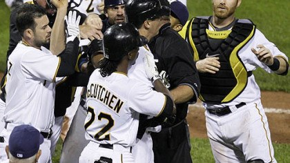 Ramon Vasquez, Andrew McCutchen, Jason Kendall, Jeff Karstens and Ryan Doumit Pirates pitcher Jeff Karstens, middle center facing right, is helped out of an altercation with Brewers catcher Jason Kendall, left center facing camera, by teammate Andre McCutchen during the eighth inning. At far left is Pirates infielder Ramon Vazquez and at far right is Pirates catcher Ryan Doumit.