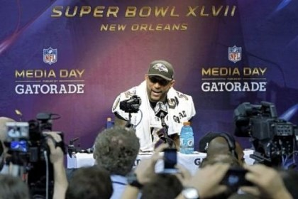 Ray Lewis Baltimore Ravens linebacker Ray Lewis speaks on Tuesday during media day for the NFL Super Bowl XLVII.
