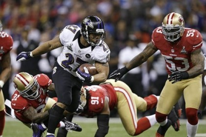 Ray Rice Ravens running back Ray Rice escapes from the 49ers Donte Whitner, Ray McDonald and NaVorro Bowman during the first half of Super Bowl XLVII.
