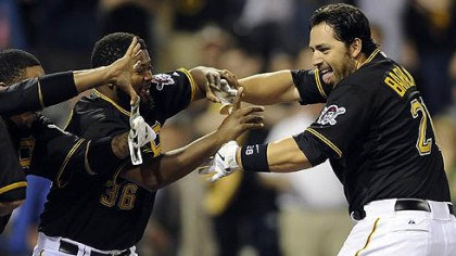 Rod Barajas Pirates catcher Rod Barajas is congratulated at home plate after hitting a two-run walk off home run against the Nationals in the ninth inning Tuesday night at PNC Park.