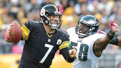 Roethlisberger The Eagles' defensive end Trent Cole pressures Steelers quarterback Ben Roethlisberger.