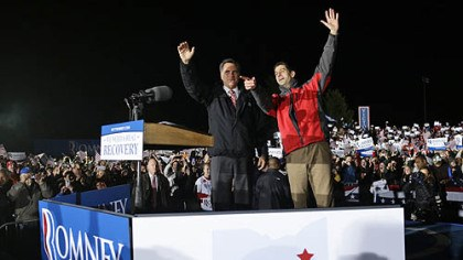 Romney and Ryan Republican presidential candidate Mitt Romney and his vice presidential running mate, Rep. Paul Ryan, R-Wis., campaign Friday at the baseball field of North Canton Hoover High School in North Canton, Ohio.