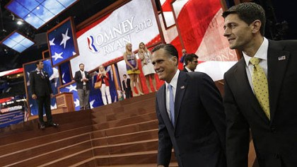 Romney Ryan Republican presidential nominee Mitt Romney and vice presidential nominee Paul Ryan walk in for a group picture with their campaign staff at the Republican National Convention in Tampa, Fla.