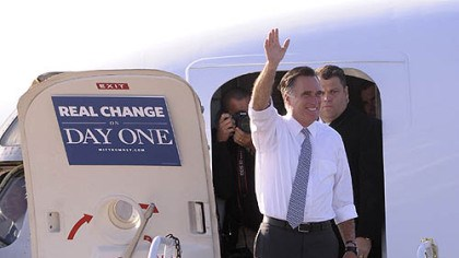 romney visits briefly pittsburgh Republican presidential candidate Mitt Romney lands at Pittsburgh International Airport today.