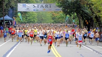Runners Runners take off at the start of Sunday's 35th annual Great Race on Beechwood Boulevard at Frick Park.