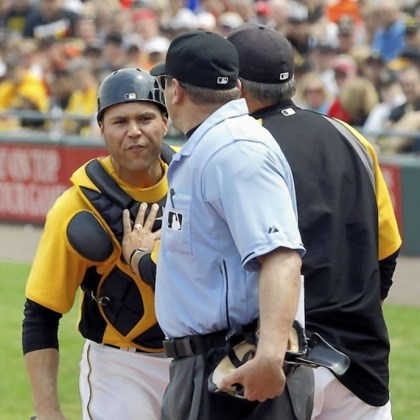 RussellMartin Russell Martin, left, had some choice words with home-plate umpire Chad Fairchild in the first inning before being tossed.