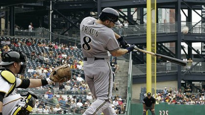 Ryan Braun Brewers outfielder Ryan Braun hits a solo home run off Pirates pitcher Paul Maholm during the first inning.