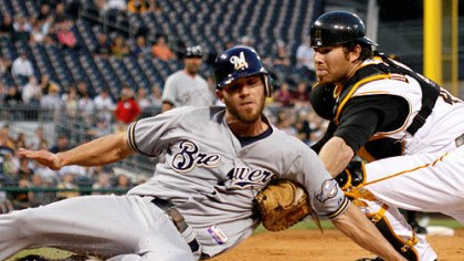 Ryan Doumit Ryan Doumit, right, tags out Milwaukee Brewers' J.J. Hardy who attempted to score from third on a grounder by Brewers' Ryan Braun during the third inning of last night's baseball game at PNC Park.