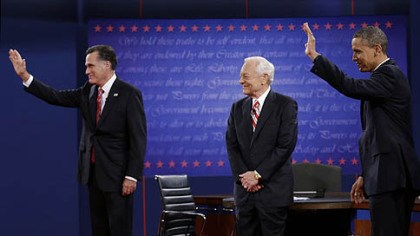 schieffer and obama and romney Moderator Bob Schieffer, Mitt Romney, and President Barack Obama wave to the audience during the third presidential debate at Lynn University, Oct. 22 in Boca Raton, Fla.