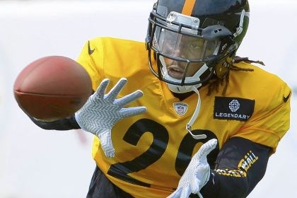 shamarko Steelers safety Shamarko Thomas intercepts a pass during afternoon workouts at Saint Vincent College.