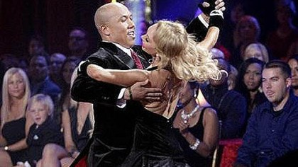 Showing how it's done Hines Ward and Kym Johnson with moves not seen on the football field.