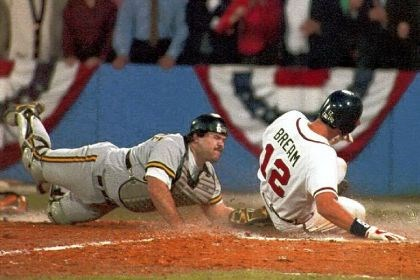Sid Bream Sid Bream of the Atlanta Braves scores the winning run in the 1992 National League Championship series, sliding in ahead of Pirates catcher Mike LeValliere's tag.