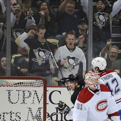 Sidney Crosby Sidney Crosby beat Canadiens goalie Carey Price in the second period for what proves to be the only goal of the game in the Penguins' 1-0 victory Tuesday night at Consol Energy Center == their 13th in a row.