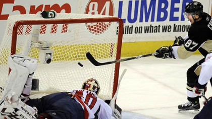 Sidney Crosby Sidney Crosby scores against Capitals goaltender Simeon Varlamov late in the third period to force overtime last night.