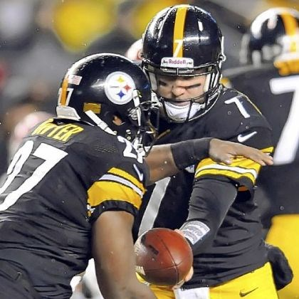 Steelers quarterback Ben Roethlisberger Steelers quarterback Ben Roethlisberger hands off to Jonathan Dwyer in the second quarter Monday night at Heinz Field. Roethlisberger was injured early in the third quarter.