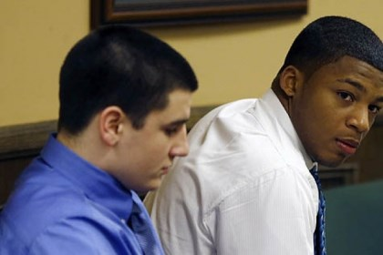 steubenville defendants Trent Mays, 17, left, and co-defendant 16-year-old Ma'lik Richmond sit in court before the start of the third day of their trial on rape charges in juvenile court today in Steubenville, Ohio.