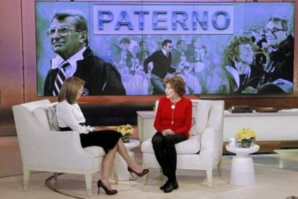 "Sue Paterno Sue Paterno, widow of football coach Joe Paterno, right, with Katie Couric at the ""Katie"" show Feb. 6 in New York."