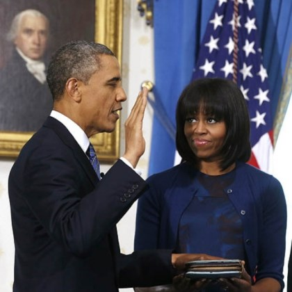 Swearing in President Barack Obama is officially sworn in by Chief Justice John Roberts in the Blue Room of the White House.