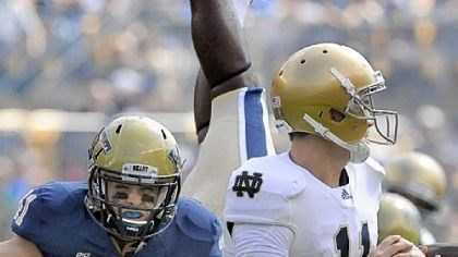 Taglianetti Pitt's Andrew Taglianetti, putting pressure on Notre Dame quarterback Tommy Rees during a game last season, has been nominated for the Allstate AFCA Good Works Team for his efforts on the field, in the community and classroom.