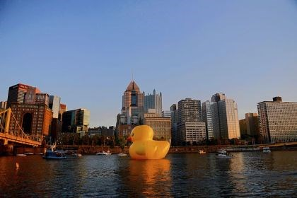 The 40-foot tall rubber ducky The 40-foot tall rubber ducky is towed toward the Clemente Bridge on the Allegheny River on Friday evening.