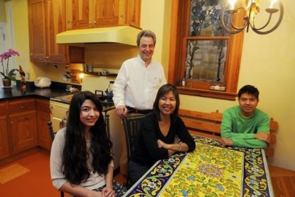 The Lagnese family David & Cristina Lagnese and children Maria, 16, left, and Marco, 18, far right, in the kitchen.