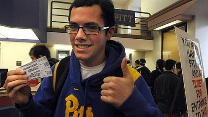 tickets for colbert Frank Paciaroni, 18, a freshman at the University of Pittsburgh, scored two tickets to Stephen Colbert's campus appearance next week.